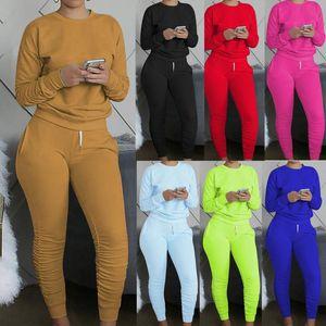 Donne Tracksuits Treay Stretchy Manica Lunga Pullover Top Sweatpants Sport Set da donna Abbigliamento moda Vestido de Mujer