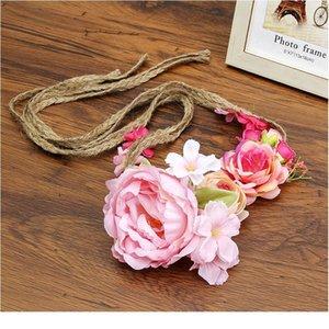 Haimeikang 화환 머리 꽃 손목 꽃 크라운 조정 가능한 장식 패브릭 로프 등나무 시뮬레이션 꽃 머리 Qylghb