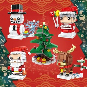 Christmas Series Mini Building Blocks Elk Snowman Santa DIY Assembled Blocks Creative Christmas Gifts Kids Educational Toy