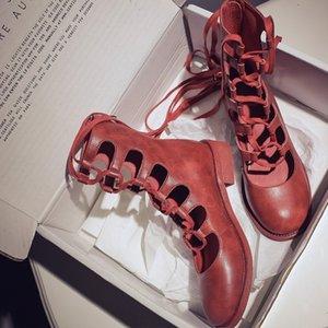 Vangull Women Boots Moda zapatos de moda Mujer de cuero genuino Cuero de Cuero Mid-becerro Botas Hollow Roman Sandalias One Tamaño Pequeño 201103