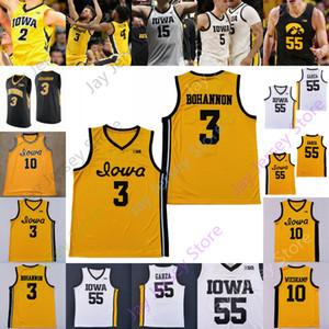 Iowa Hawkeyes Basketbol Forması NCAA Koleji 55 Luka Garza 10 Joe Wieskamp 5 CJ Fredrick 3 Bohannon 30 Connor McCaffery 4 Ahron Ulis