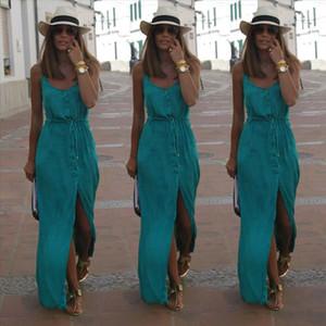 2021 Newest Hot Sexy Women Summer Chiffon Dresses Long Maxi BOHO Evening Party Solid Dress Beach Dresses Sundress