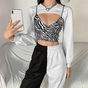 Women 2Pcs Long Sleeve O-Neck Cropped Sweatshirt with Zebra Stripes Print Sexy V-Neck Camisole Vest Harajuku Streetwear