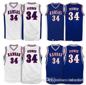 Factory Outlet Cheap custom #34 Paul Pierce Kansas Jayhawks Basketball Jersey White Blue Embroidery Stitched Personalized Custom Jerseys