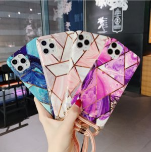 NEW 2020 burst geometric electroplating oblique stiletto iPhone 12 applies to Apple 11 SE marble phone case 12 MULTI COLOUS FREE SHIPPING