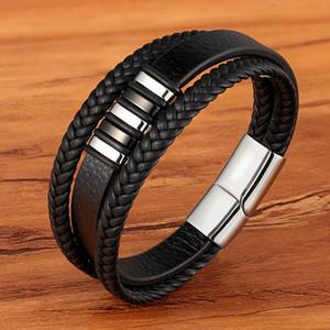 Hohe Qualität Edelstahl Charm Stapelbares Layered Armband Leder Echtes Geflochtene Schwarz Armband Für Männer Hand Schmuck