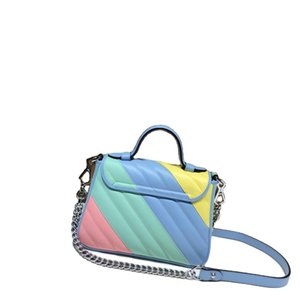 Fashion macaron fashion handbags women bag shoulder bag Rainbow color system nuine leather famous brand crossbody bags Messenger lady bag