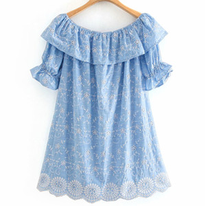women fashion blue summer floral embroidery za playsuits 2020 sweet lady hollow out french style cute loose short jumpsuit B1203
