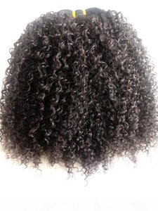 Top Quality Brazilian Kinky Curly Human Virgin Remy Hair Bundles Weft Hair Extensions Natural Black 1B# Color