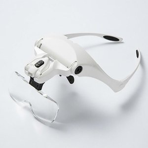 5 Lens Loupe Eyewear Magnifier With Led Lights LampInterchangeable Lens 1.0X 1.5X 2.0X 2.5X 3.5X Wearing Magnifying Glasses