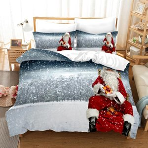 Cartoon 3D Printed Pillowcases Bedding Set Queen King Size Dropshipping Boy gift Merry Christmas Happy New Year Santa Claus