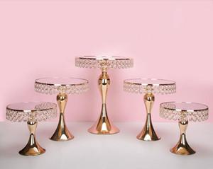 Tortero de cristal de cristal de lujo Soporte de soporte para pastel decorado Caneo de bodas Pan Cupcake Dulce Mesa Caramelo Bar Mesa Centros Decoración