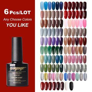 (6PCS SET) Yayoge Gel Nail Polish Set Nail Gel Polish Kit Top And Base Art Lacquer UV LED Lamp Design Manicure Set