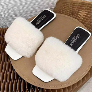 2021New Arrival Real Fox Fur Slippers Women Fashion Furry Sliders Natural Fur Indoor Slides Sapatos Femininos Zapatillas Mujer Casa #lL1X