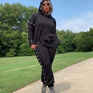 Autumn winter women long sleeve hoodie sweatshirt+sweatpant 2piece set matching sets Black pink gray beaded tracksuit sweatsuits1