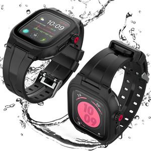 Черный спортивный экран протектор водонепроницаемый чехол для Apple Watch Case Series 6 SE 5 4 3 Силиконовая полоса ремешка для iWatch 44 мм 42 мм