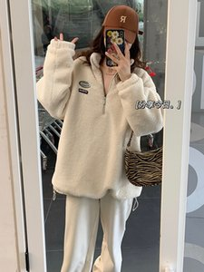 Lamb Wool Sweater Womens Fashion Ins Mid-Length Autumn and Winter Stand Collar Pullover Thickened Half Zipper Korean Style Loose Coat
