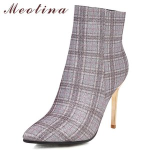 Meotina Kış Ayak Bileği Çizmeler Kadın Glitter Stiletto Topuk Kısa Çizmeler Karışık Renkler Süper Yüksek Topuk Ayakkabı Bayanlar Güz Büyük Boy 33-43