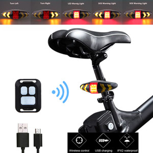 Waterproof USB Rechargeable Bike Rear Lamp Smart Remote Control Bicycle Turning Signal Light Wireless LED Warning Taillight Q1202