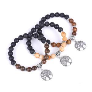 Trendy Natural Volcanic Stone Handmade Beaded Bracelets Life Tree Lava Rock Elastic Hand Chain Diffuser Beads Bracelet Gift