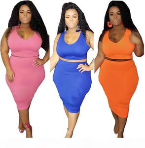 Plus size XL-4XL 5XL Women fitness tank top+skinny dress two piece set solid color vest top package hip skirt fashion lady Clothing 2519