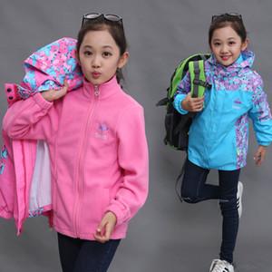 New Warm Polar Fleece Jacket 2pcs For baby girl Winter clothes Autumn Waterproof Windbreaker Kids hooded Coat Children Outerwear 201118