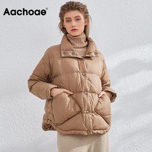 Aachoae Frauen Mäntel 2020 Winter-Einreiher Ulta Licht Daunenjacke Stehkragen Langarm Pockets Puffer Mantel-Oberbekleidung