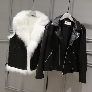 2pcs Leather Jackets for Girls Winter Faux Fur Vests Big Fur Collar Leather Pu Jackets for Boys Children Outerwear Coats1