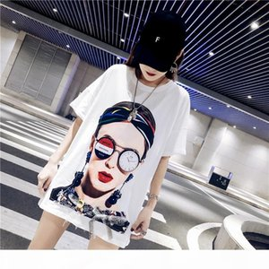 Shuchan Character Print Harajuku T-shirt For Women Cotton Loose Streetwear Summer New 2019 Short Sleeve O-neck white black