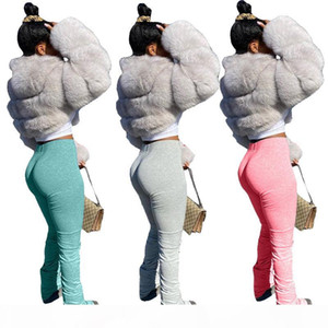 2020 stacked leggings joggers stacked pants women jogging femme split flare ruched sweatpants women sweat pants trousers
