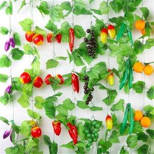 الفاكهة الاصطناعية الروطان النباتات الديكور كرمة مزرعة أوراق الفواكه الخضروات زهرة زخرفة النباتات الاصطناعية النباتات