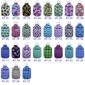 Sanitizer Holder 30ml Travel Size Portable Neoprene Cover with Keychain sunflower printing Hand soap Bottle bag DHB765
