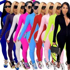 Kadın Tulum Ince Seksi Bodysuit Rahat Katı Renk Tulum Uzun Kollu Pantolon Spor Giyim Yeni Kış 2020