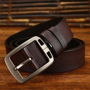 Designer high Quality 100% Upper Genuine Leather Alloy Pin Buckle Belt Business Cowhide Brand Waistband Strap Belt For Men