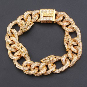 20mm Mens Women Bracelet Ice Out CZ Leopard Bracelet Cuban Link Chains Fashion Bracelets Jewelry Gift