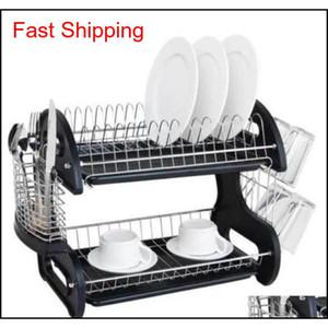 대용량 2 계층 접시 배수구 업그레이드 건조 랙 주방 스토리지 스테인레스 스틸 접시 배수구 숟가락 Colle Qylhsa Packing2010