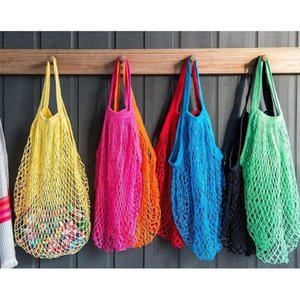Reusable Grocery 14 Color Large Size Shopper Tote Mesh Net Woven Cotton Portable Shopping Bags Home Storage Bag