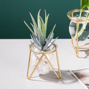 Terrarium végétal avec support de cadre en métal, planteur d'air Vase Vase Vase Géométrique Tabletop rétro pour l'hydroponie Accueil Jardin Bureau Décoration de bureau