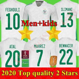 20 21 Cezayir Maillot de Futbol Gömlek 2020 2021 Futbol Formaları Ev Mahrez Brahimi Bennacer 2 Yıldız Cezayir Erkekler Kids Kiti Üniforma Tha