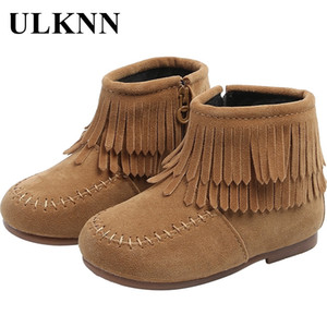 ULKNN Winter 2020 New Girls' Short Boots Tassel Princess Leather Boots Children's Low Boots Plush Baby Cooton Shoes Khaki RED Y1117