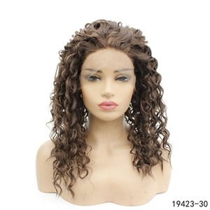 Afro Kinky Curly Synthetic Lace Frontal Wig Natural Color 30# Simulation Human Hair Lace Front Wigs 19423-30