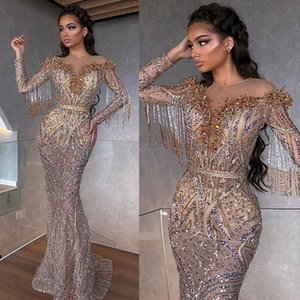 2021 Mermaid Evening Dresses Sheer Jewel Neck Beaded Sequins Tassel Prom Dress Long Sleeves Illusion Sweep Train Formal Party Gown