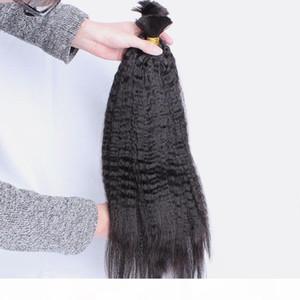 Top Malaysian Human Hair Kinky Straight Bulk For Extension 3 Bundles Deal 100g Coarse Yaki Bulk Hair Extensions Unwefted Hair