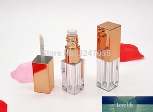 3ML Square Plastic Clear Lipgloss Bottle n Rose Gold Cap, DIY Empty Cosmetic Liquid Lipstick Container,Lip Gloss Refillable Tube