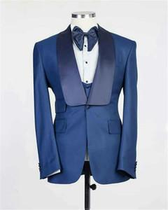Custom Made Groomsmen Blue Groom Tuxedos Shawl Lapel Men Suits Wedding Prom Dinner Best Man Blazer ( Jacket+Pants+Tie+Vest ) G63