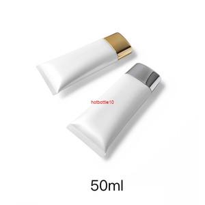 Pearl White 50ml Conteneur Cosmétique 50G Crème de maquillage vide Emballage en plastique Flot Style Flat Style Soft Soft Gratuit ShippingHipping