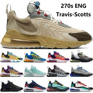 Novo Nike Air Max 270 REACT Running Shoes Treinadores Elemento de Visão Travis Scotts Cactus Jack Trail Right Violet Brilhante AirMax 270 Mens Mulheres Esportes Sneakers