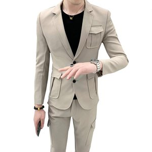 Мужские костюмы Blazers Multi Pockets Tweed Couse British Style Mace Slim Fit Wedding 2 шт. Установить джентльмен повседневный ретро мужская куртка брюки