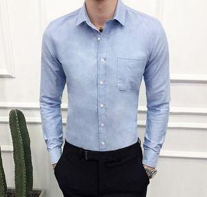 Men Wedding Shirt Long Sleeve Men Dress Shirts Man Business Party Solid Casual Shirt Work Wear Slim Male m-5xl