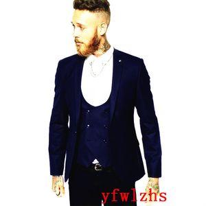 Handsome One Button Groomsmen Peak Lapel Groom Tuxedos Men Suits Wedding Prom Dinner Best Man Blazer(Jacket+Pants+Tie+Vest) W655
